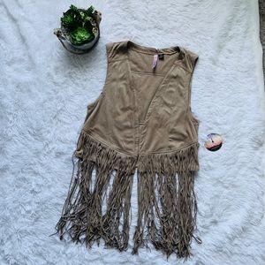 Love by design Faux suede Fringe vest